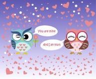 Giorno felice del ` s del biglietto di S. Valentino! Carta di giorno del ` s del biglietto di S. Valentino con il gufo rosa e blu Fotografia Stock