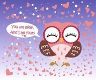 Giorno felice del ` s del biglietto di S. Valentino! Carta di giorno del ` s del biglietto di S. Valentino con il gufo rosa piano Fotografia Stock Libera da Diritti