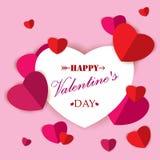 Giorno felice del ` s del biglietto di S. Valentino con cuore di carta variopinto su fondo rosa Fotografie Stock