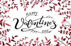 Giorno felice del ` s del biglietto di S. Valentino dell'iscrizione disegnata a mano Fotografia Stock Libera da Diritti