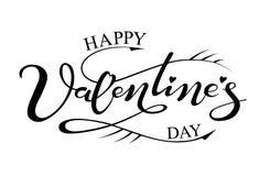 Giorno felice del ` s del biglietto di S. Valentino dell'iscrizione disegnata a mano Fotografie Stock Libere da Diritti