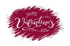 Giorno felice del ` s del biglietto di S. Valentino dell'iscrizione disegnata a mano Immagini Stock