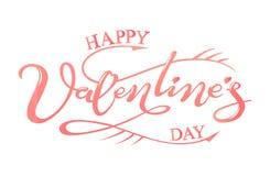 Giorno felice del ` s del biglietto di S. Valentino dell'iscrizione disegnata a mano Fotografia Stock