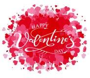 Giorno felice del ` s del biglietto di S. Valentino dell'iscrizione disegnata a mano Immagine Stock Libera da Diritti