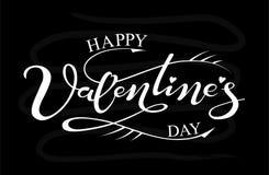 Giorno felice del ` s del biglietto di S. Valentino dell'iscrizione disegnata a mano Immagini Stock Libere da Diritti
