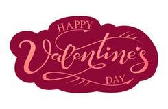 Giorno felice del ` s del biglietto di S. Valentino dell'iscrizione disegnata a mano Immagine Stock