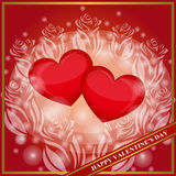 Giorno felice del `s del biglietto di S Due cuori rossi dentro dei fiori Modello festivo del fondo per le cartoline d'auguri, inv Fotografia Stock Libera da Diritti