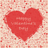 Giorno felice del ` s del biglietto di S. Valentino dei cuori - raccolta di scarabocchi Fotografia Stock Libera da Diritti