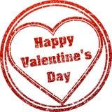 Giorno felice del ` s del biglietto di S. Valentino del timbro di gomma rosso di vettore nello stile di lerciume Fotografia Stock Libera da Diritti