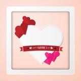 Giorno felice del ` s del biglietto di S. Valentino della carta Immagini Stock