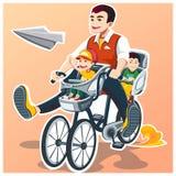 Giorno felice del ` s del padre Due figli Illustrazione di vettore Immagini Stock Libere da Diritti