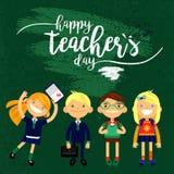 Giorno felice del ` s dell'insegnante - l'iscrizione bianca e 4 istruiscono gli studenti, manifesto disegnato a mano di tipografi Fotografia Stock Libera da Diritti