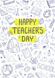 Giorno felice del ` s dell'insegnante Scarabocchi dei rifornimenti di scuola Fondo impreciso, composizione Illustrazione disegnat Immagine Stock Libera da Diritti