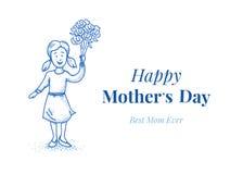 Giorno felice del `s della madre Figlia con i fiori Piccola ragazza Illustrazione disegnata a mano Blue Line progetta Cardi il mo Immagine Stock