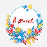 Giorno felice del `s della madre Fiore di carta della corona 8 marzo Struttura del cerchio Immagine Stock