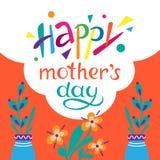 Giorno felice del `s della madre Scarabocchio ed illustrazione di iscrizione immagini stock
