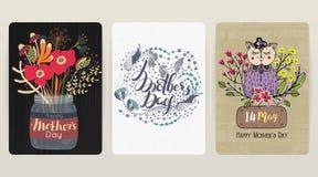 Giorno felice del `s della madre Un insieme di 3 ambiti di provenienza di congratulazioni variopinti Festa della primavera royalty illustrazione gratis