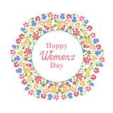 Giorno felice del ` s delle donne 8 marzo Corona floreale multicolore Progettazione di massima per una vendita di festa, cartolin Fotografia Stock Libera da Diritti