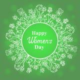 Giorno felice del ` s delle donne 8 marzo Struttura delle erbe e del fiore Progetti per una vendita di festa, le cartoline d'augu Immagine Stock