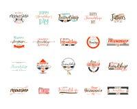 Giorno felice di amicizia Progettazione variopinta tipografica di vettore I distintivi per la vostra festa progettano le cartolin royalty illustrazione gratis