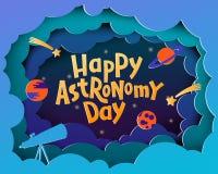 Giorno felice di astronomia Cartolina d'auguri con l'iscrizione del Astronom con lettere felice illustrazione vettoriale