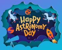Giorno felice di astronomia Cartolina d'auguri con l'iscrizione del Astronom con lettere felice royalty illustrazione gratis