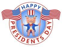 Giorno felice di presidenti Bandiere americane della tenuta di zio Sam del fumetto Immagine Stock Libera da Diritti