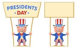 Giorno felice di presidenti Lo zio Sam divertente del fumetto tiene l'insegna Fotografia Stock Libera da Diritti