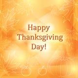 Giorno felice di ringraziamento - fondo arancio di vettore con le foglie Immagini Stock
