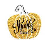 Giorno felice di ringraziamento, ringraziamenti di elasticità, progettazione di scintillio dell'oro di autunno Manifesti di tipog royalty illustrazione gratis