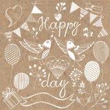 Giorno felice Insieme festivo elementi di progettazione per invit Immagini Stock Libere da Diritti