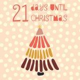 21 giorno fino all'illustrazione di vettore di Natale conteggio di +EPS giorni 'lavorare alla lavagna di natale illustrazione di stock