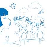 Giorno globale del vento 15 giugno Illustrazione di vettore per la festa Fotografia Stock Libera da Diritti