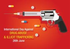 Giorno internazionale contro il fondo di traffico illecito e di abuso di droga illustrazione vettoriale