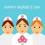 Giorno internazionale degli infermieri Cartolina d'auguri festiva manifesto Fotografia Stock