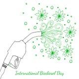 Giorno internazionale del biodiesel decimo della pistola di August Refueling, da cui le foglie e fiorisce stanno scorrendo Illust Immagine Stock Libera da Diritti