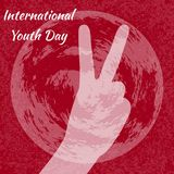 Giorno internazionale della gioventù 12 agosto segno di V, vittoria del segno della mano Fondo rosso di lerciume illustrazione di stock