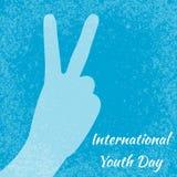 Giorno internazionale della gioventù 12 agosto segno di V, vittoria del segno della mano Priorità bassa blu del grunge illustrazione vettoriale