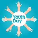 Giorno internazionale della gioventù di vettore delle azione, il 12 agosto mani del cerchio su su fondo blu illustrazione di stock