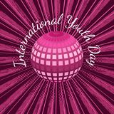 Giorno internazionale della gioventù 12 palle o pianeta Terra di August Mirror, con i raggi, fondo cremisi di lerciume royalty illustrazione gratis