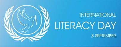 Giorno internazionale di alfabetizzazione con il logo della penna e della colomba illustrazione di stock