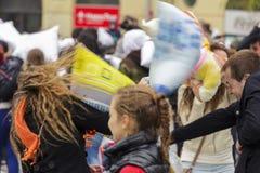 Giorno internazionale di lotta di cuscino Fotografie Stock Libere da Diritti