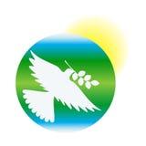 Giorno internazionale di pace, colomba di pace contro lo sfondo di terra e sole, vettore Fotografia Stock Libera da Diritti