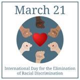 Giorno internazionale per l'eliminazione di discriminazione razziale 21 marzo Calendario di festa di marzo Le mani della gente Ve illustrazione di stock
