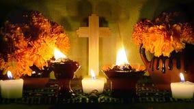 Giorno messicano del metraggio morto di Dia de Muertos Looped dell'altare archivi video
