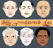 Giorno nazionale dei nonni Un insieme dei colori della pelle differenti dei fronti dei nonni illustrazione di vettore su fondo gr Fotografia Stock Libera da Diritti