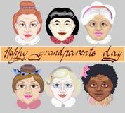 Giorno nazionale dei nonni Un insieme del ` delle nonne affronta i colori della pelle differenti illustrazione di vettore su fond Immagine Stock