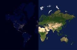 Giorno nell'est, notte nell'ovest, vettore della mappa di mondo Immagini Stock Libere da Diritti