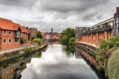 Giorno nuvoloso a Norwich fotografie stock libere da diritti