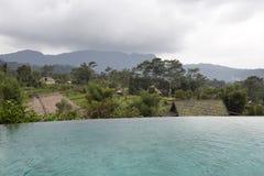 Giorno nuvoloso sopra i tropici ed i terrazzi del riso Vista attraverso lo stagno nella priorità alta bali Fotografia Stock Libera da Diritti